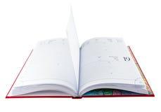 Geöffnetes rotes Tagebuchbuch Stockbild