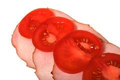 Geöffnetes Sandwich getrennt auf Weiß Stockfotografie