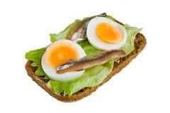 Geöffnetes Sandwich mit Ei, Salat und Sardelle stockbilder