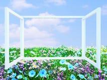 Geöffnetes transparentes Fenster mit Wiesenansicht Lizenzfreie Stockfotografie