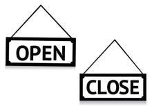 Geöffnetes und geschlossenes Zeichen Stockbilder