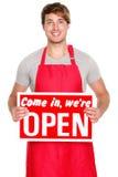 Geöffnetes Zeichen der Geschäfts-Ladenbesitzer-Vertretung Stockfotografie