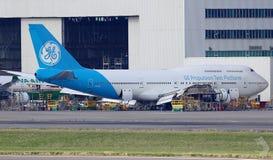 GE airplane at hangar