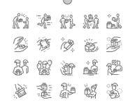 Ge Brunn-tillverkat PIXEL den perfekta vektorn tunn linje raster 2x för symboler 30 för rengöringsdukdiagram och Apps stock illustrationer