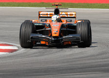 Ge da equipe F8-VII Adrian Sutil de Etihad Aldar Spyker F1 Imagem de Stock