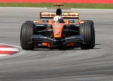 GE de l'équipe F8-VII Adrian Sutil d'Etihad Aldar Spyker F1 Image stock