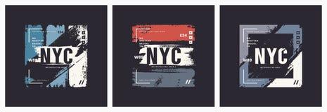 GE dell'estratto di vettore di stile della spazzola della maglietta e dell'abito di New York illustrazione di stock