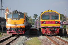 Ge Diesel locomotive no.4007 and Hitachi no.4519 Royalty Free Stock Image