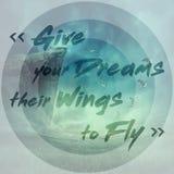 Ge dina drömmar deras vingar för att flyga Arkivfoto