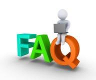 Ge direktanslutet svaren till FAQ Royaltyfri Bild