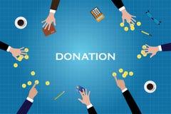 Ge donation donerar hjälpfolkpengar det guld- myntet stock illustrationer