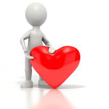 ge hjärta rött stickman Fotografering för Bildbyråer