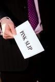ge jobbchefmeddelande avslutning för rosa slip Royaltyfri Fotografi
