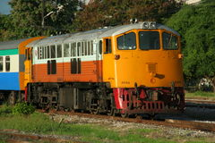 Ge locomotive. Chiangmai railway station, end of north route of thailand rail network Royalty Free Stock Photos