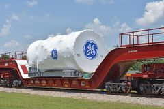 A GE Power gas turbine is transported to port stock photos