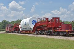 A GE Power gas turbine is transported to port royalty free stock photo