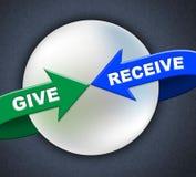 Ge sig mottar pilar föreställer gåva donerar och tar Arkivfoton