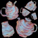 Ge?soleerd met kleurrijke koppen en theepotten Illustratie voor thee het drinken De ceremonie van de thee vector illustratie