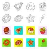 Ge?soleerd voorwerp van banketbakkerij en culinair embleem Inzameling van banketbakkerij en productvoorraadsymbool voor Web stock illustratie