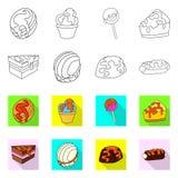 Ge?soleerd voorwerp van banketbakkerij en culinair symbool Inzameling van banketbakkerij en productvoorraadsymbool voor Web stock illustratie