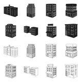 Ge?soleerd voorwerp van bouw en de bouwembleem Reeks van bouw en landgoed vectorpictogram voor voorraad stock illustratie