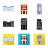 Ge?soleerd voorwerp van gemeentelijk en centrumembleem Inzameling van gemeentelijk en landgoed vectorpictogram voor voorraad stock illustratie