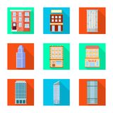 Ge?soleerd voorwerp van gemeentelijk en centrumpictogram Inzameling van gemeentelijk en landgoed vectorpictogram voor voorraad royalty-vrije illustratie