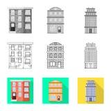 Ge?soleerd voorwerp van gemeentelijk en centrumsymbool Inzameling van gemeentelijk en landgoed vectorpictogram voor voorraad stock illustratie