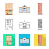 Ge?soleerd voorwerp van gemeentelijk en centrumteken Inzameling van gemeentelijk en landgoed vectorpictogram voor voorraad royalty-vrije illustratie