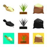 Ge?soleerd voorwerp van gewas en ecologisch embleem Reeks van gewas en kokend voorraadsymbool voor Web stock illustratie