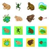Ge?soleerd voorwerp van het wild en moerasembleem Inzameling van het wild en reptielvoorraad vectorillustratie vector illustratie