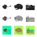 Ge?soleerd voorwerp van het wild en moerasembleem Reeks van het wild en reptielvoorraad vectorillustratie vector illustratie