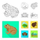 Ge?soleerd voorwerp van het wild en moeraspictogram Reeks van het wild en reptielvoorraad vectorillustratie stock illustratie