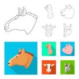 Ge?soleerd voorwerp van landbouw en het fokkenembleem Inzameling van landbouw en organisch voorraadsymbool voor Web stock illustratie