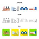 Ge?soleerd voorwerp van productie en structuurembleem Reeks van productie en technologievoorraad vectorillustratie vector illustratie