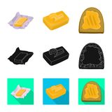 Ge?soleerd voorwerp van romig en productsymbool Inzameling van de vectorillustratie van de romige en landbouwbedrijfvoorraad vector illustratie