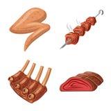 Ge?soleerd voorwerp van vlees en hampictogram Reeks van vlees en kokend voorraadsymbool voor Web royalty-vrije illustratie