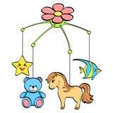 Ge?soleerdd voorwerp op witte achtergrond Een muzikaal stuk speelgoed over een wieg voor een kind De onderwerpen zijn paard, bloe stock illustratie