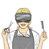 Ge?soleerdd voorwerp op witte achtergrond Virtuele opleiding, cursussen van kapper, stilista spel voor beroeps rooster stock illustratie