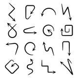 Ge?soleerde vectorhand getrokken die pijlen op een witte achtergrond worden geplaatst royalty-vrije illustratie