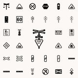 ge symbolen för vägdrevet Universell uppsättning för järnväg varningssymboler för rengöringsduk och mobil stock illustrationer