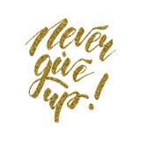 Ge upp aldrig - den inspirerande bokstäverdesignen Royaltyfria Bilder