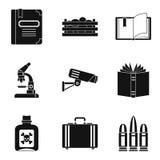 Geaccumuleerde geplaatste kennispictogrammen, eenvoudige stijl Royalty-vrije Stock Foto