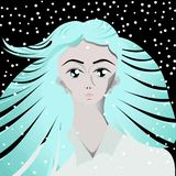Geada da menina da neve do anime do inverno fotografia de stock royalty free