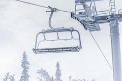 Geada do gelo da neve do inverno da telecadeira Fotos de Stock Royalty Free