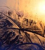 Geada do inverno nas janelas Fotografia de Stock Royalty Free