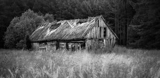 Gealterte alte Scheune nahe Wald Lizenzfreie Stockbilder