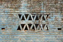 Gealterte blaue Backsteinmauer Stockfotografie