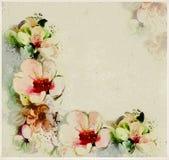 Gealterte Blumenpostkarte mit stilisierten Frühlingsblumen Stockfotografie