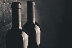 Gealterte Flaschen des feinen Weins Lizenzfreies Stockbild